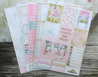 Shopping Therapy Planner Sticker Kit / Fashion Girl / EC Vertical Planner Stickers / A La Carte