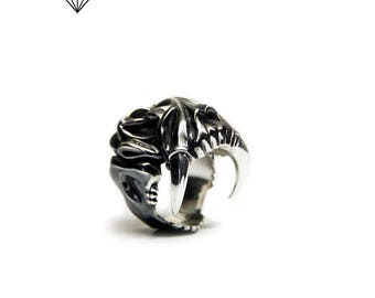 Ring toothed tiger.Silver ring.Toothed tiger silver ring. Skull toothed tiger silver. Tiger ring