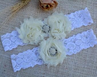 Ivory, Garter, Set, White, Bridal, Wedding Garter, Garter Set, Garter Gift, Bridal Garter, Bridal Set, Keepsake Garter, Ivory Bridal Garter