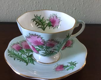 Vintage Foley Red Clover Tea Cup and Saucer