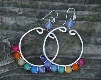 Hand Stamped, Hammered Wire, Rainbow Hoop Earrings. Copper and silver and stone, handmade.