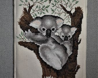 Finished Cross Stitch Koala Bear