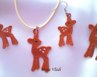 FSL jewelry Christmas Deer earrings, pendant, motive, christmas tree decoration Free Standing Lace Machine Embroidery design 4x4hoop -1 size