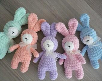 Crochet animals bunny Plush stuffed pink bunny toy Amigurumi bunny rabbit Handmade bunny Gift for her Soft baby toy Nursery decor baby bunny
