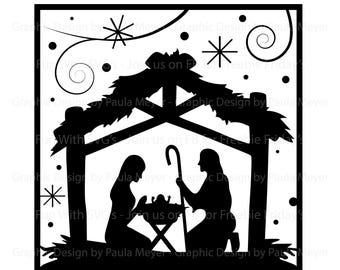 Nativity silhouette | Etsy