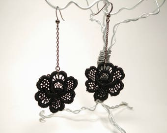 Black Rose Venice Lace Earrings