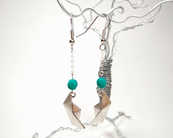 Silver Origami Boat Earrings - Matte Turquoise Green