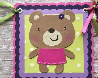 Teddy bear baby Shower banner, It's a girl banner, baby girl banner, pink and purple, girl teddy bear banner, bear baby shower.