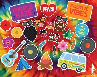 Hippie Printable Photobooth Props - Printable 70's props -  Hippie Party Props- Printable hippie props- 70's Printable Photobooth- hippie
