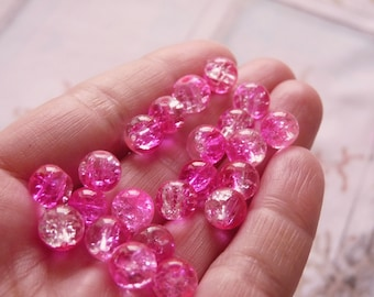 10x Crackle Glass Beads, 8mm Marbles Cracked Glass Beads, Hot Pink Crackled Glass Beads, Spacer Beads, Beading Supplies