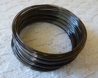 Memory Steel Wire, Bracelet Wire, Wire Bracelet, 0.6x55mm Gun Metal Black Round Memory Steel Wire, Wire Wrap Bracelet, Beading Wire