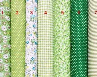 Classical Green Series 100% Cotton Fabric per Fat Quarter, per Half Meter