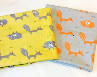 Gorgeous fox design 100% cotton fabric in two colours, per fat quarter/per half metre