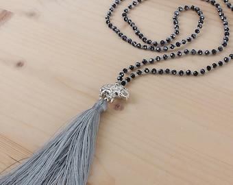 Bohemian Style Elephant Tassel Necklace Dark Grey