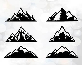 Mountain Svg - Mountain Clipart - Silhouette Cut Files - Cricut Designs - Mountains  silhouette SVG