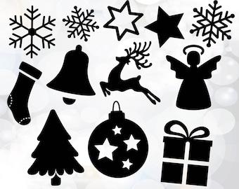 Christmas elements svg - Christmas present svg - Christmas tree decoration svg, dxf files - Christmas clipart - digital xmas clip art set