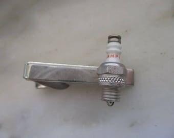 Vintage silver Tone Champion Spark Plug Tie Clip