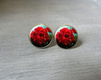 Boucles d'oreilles puces cabochon rétro vintage romantique fleur coquelicot Boucles d'oreilles romantique