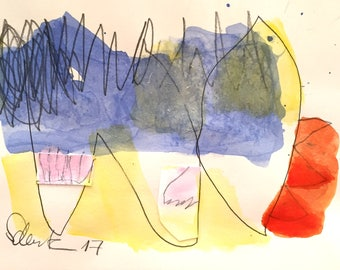 Abstract painting on paper, waves, water, vacations, summer 1