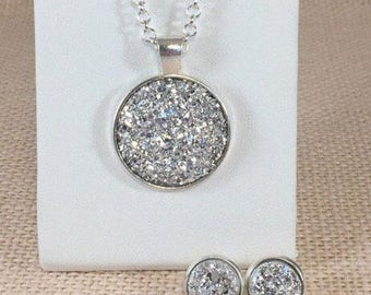 Bridesmaid Gift - Silver Druzy Jewelry Set - Necklace and Earrings Set - Druzy - Bridesmaid Jewelry - Druzy Necklace - Druzy Earrings - Gift