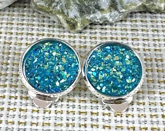 Turquoise Druzy Clip On Earrings - Druzy - - Drusy - Clip On Earrings - Earrings - Non Pierced Ears - Druzy Jewelry - Ears not Pierced -
