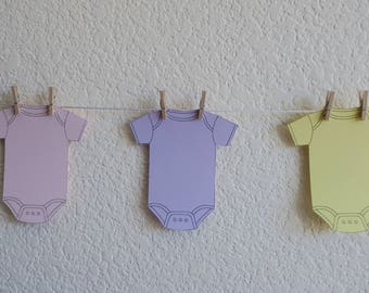 Onesie Baby Girl Shower Garland yellow pink purple banner clothespin party supplies decor
