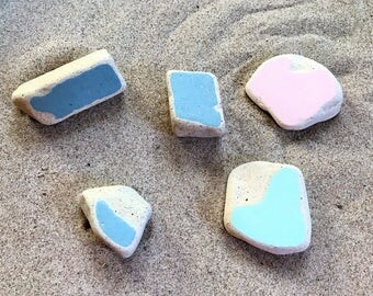 5 XL Chunks Colored Sea Beach Pottery Surf Tumbled Craft Quality Pink Aqua Blue