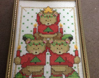 3.5x5 Finished Christmas Teddy Bear Cross Stitch