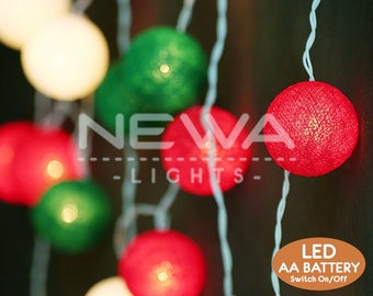 20 led battery christmas lights red green white cotton ball fairy lights indoor string lights bedroom - Red Green White Christmas Lights