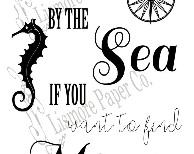 Sea Inspired, Seahorse Art, Whale Art, Nautical, Sea Inspired Wall Art, Sea Inspired Typography, Beach Inspired, JPEG, PNG, Instant Download