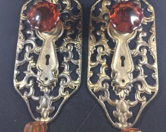 Vintage Pair of French Bronze Glass Knob & Hook with Keyhole