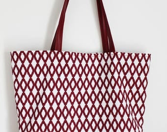 Faux Burgundy leather and cotton tote bag
