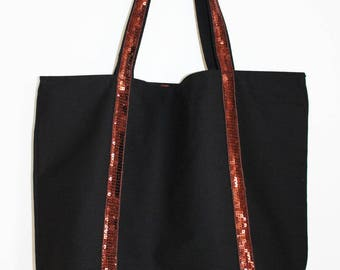 Large tote bag in black cotton and Brown glitter band