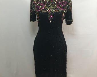 Vintage 1990s Laurence Kazar Sequined Silk Evening Dress
