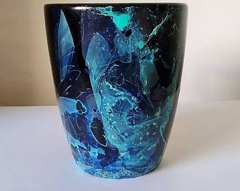 Black Dip Dyed/Marbled Mug (blue and green)