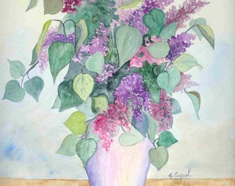 Lilac bouquet - original watercolor painting