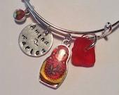 Reserved for Aurica, Red Sea Glass Matryoshka Bangle Bracelet