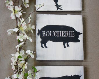 French Farm Animals//Wood Signs//Hand Painted//Home Decor//Kitchen Decor//Beef//Pork//Chicken