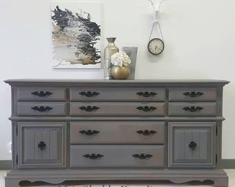 Restoration Hardware like finish- 12 Drawer Dresser With casters finished in Driftwood-vintage