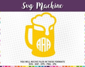 Monogram beer mug svg - Beer Mug svg - Beer svg files for cricut - svg for silhouette - cut files svg dxf eps png and jpg - instant download