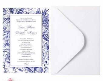 Navy wedding invite suite, Blue wedding invite set, Floral navy invitation, Royal blue invite, Calligraphy wedding invitation set A5 or A6