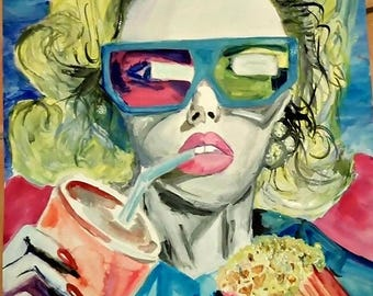 Colorful Expressive Watercolor Woman Portrait, expressive portrait painting,  painting,  portrait,  women portrait painting