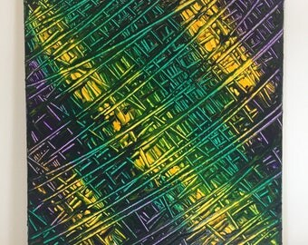 Original Mardi Gras Abstract Painting on Canvas by New Orleans artist - Purple, Green, Gold (Yellow) - Made in the USA