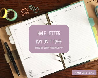 PRINTABLE Half Letter Daily Insert, Day on 1 Page, Lined, Undated