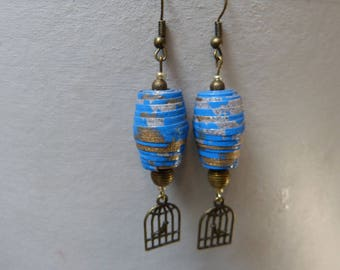 Pearl paper & bird cage earrings