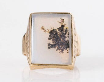 Amazing 19th Century Dendritic Agate Statement Ring