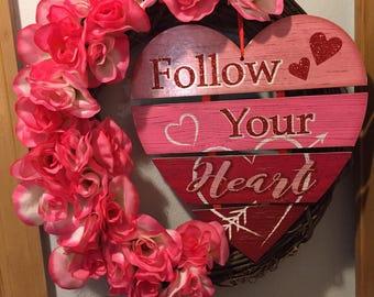 Valentine's wreath on a grapevine frame
