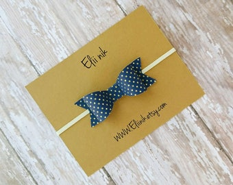 Bow headband, baby headband, navy bow headband, leather bow headband, newborn headband
