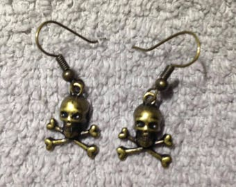 Skulls and Cross Bones Fishhook Earrings,Jewelry