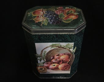 Vintage Natco Tin Decorated in Beautiful and Colorful Fruits   (TTT14)